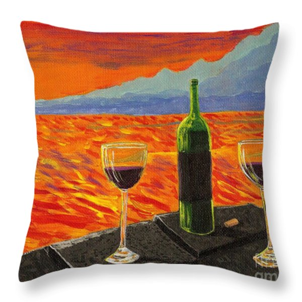 Wine On Sunset Terrace Throw Pillow by Vicki Maheu
