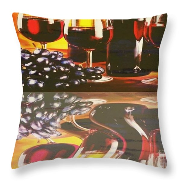 Wine Reflections Throw Pillow by PainterArtist FIN
