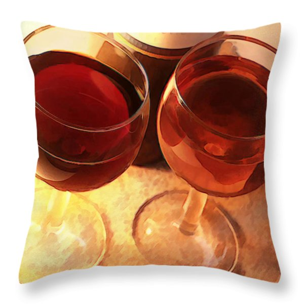Wine Toast in Watercolor Throw Pillow by Elaine Plesser