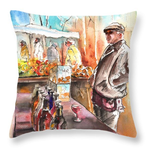 Wine Vendor In A Provence Market Throw Pillow by Miki De Goodaboom