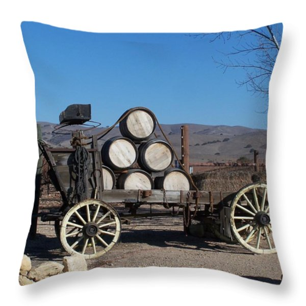 Wine Wagon Throw Pillow by Jewels Blake Hamrick