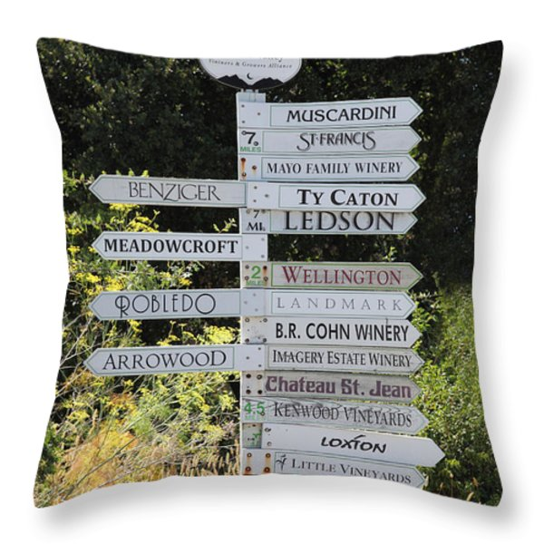 Winery Street Sign In The Sonoma California Wine Country 5D24601 Throw Pillow by Wingsdomain Art and Photography