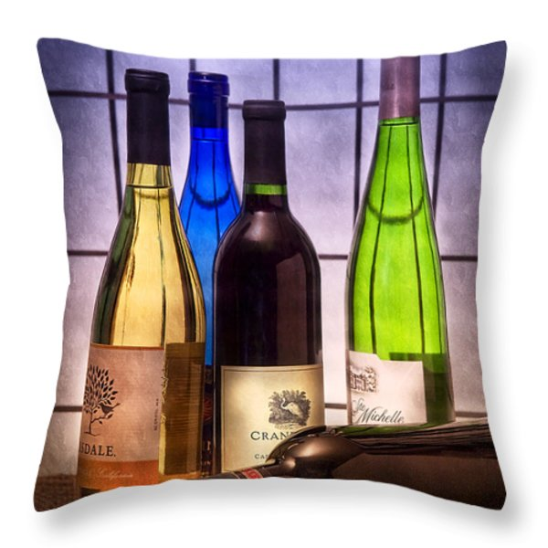 Wines Throw Pillow by Tom Mc Nemar