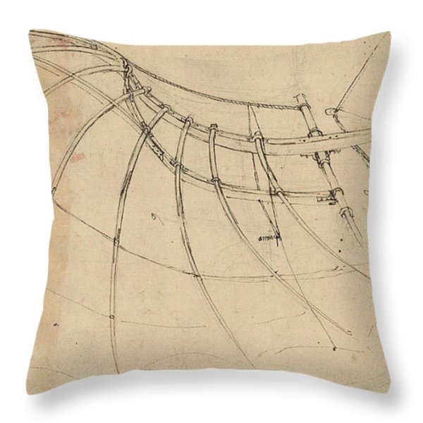 Wing Covered With Cloth And Moved By Means Of Crank Winch Below Right Detail Of Winch Throw Pillow by Leonardo Da Vinci