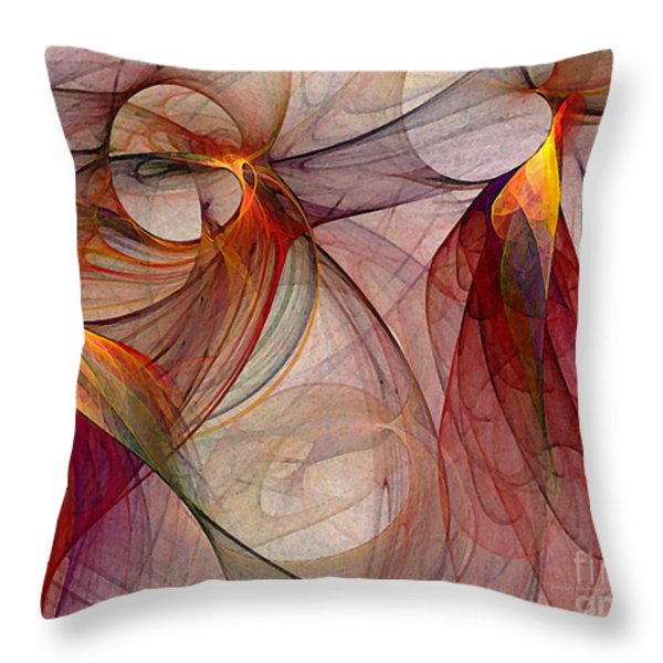 Winged-abstract Art Throw Pillow by Karin Kuhlmann