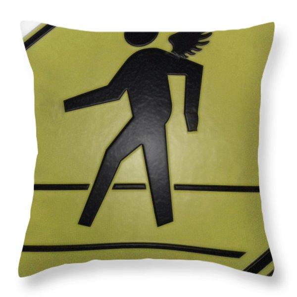 Winged Pedestrian Throw Pillow by Bill Owen