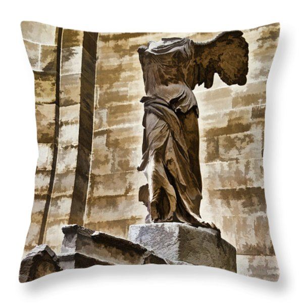 Winged Victory - Louvre Throw Pillow by Jon Berghoff
