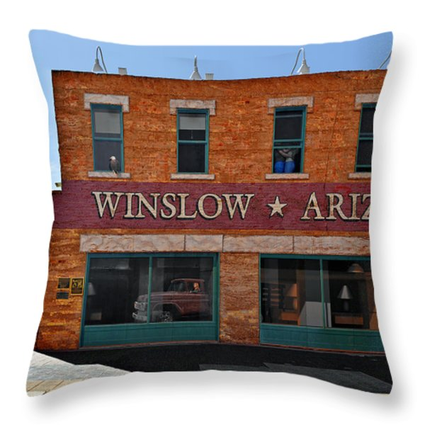 Winslow Arizona On Route 66 Throw Pillow by Christine Till