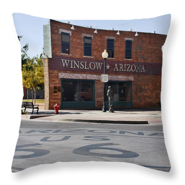 Winslow Arizona - Such A Fine Sight To See Throw Pillow by Christine Till