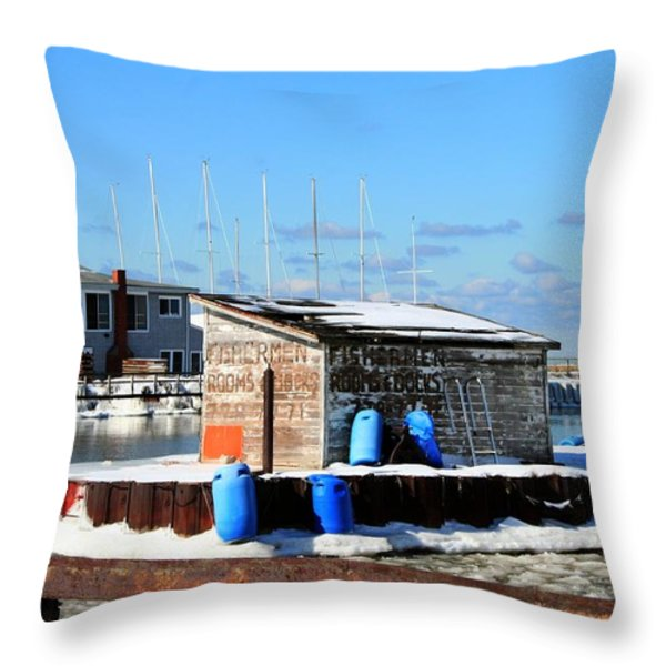Winter At The Olcott Beach Fishing Shack Throw Pillow by Michael Allen