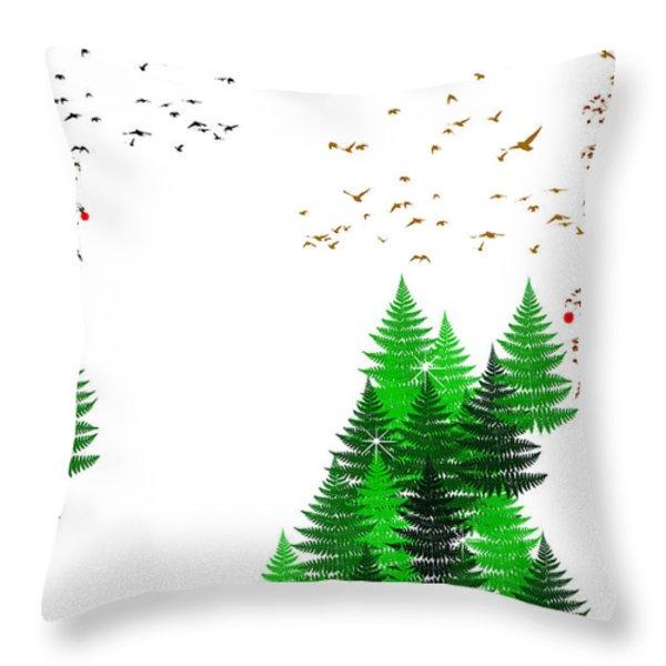 Winter Christmas Four Seasons Art Series Throw Pillow by Christina Rollo