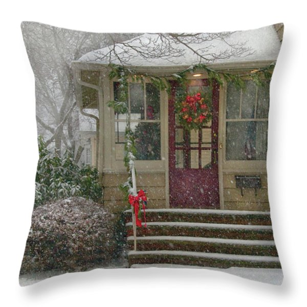 Winter - Dreaming of a White Christmas Throw Pillow by Mike Savad