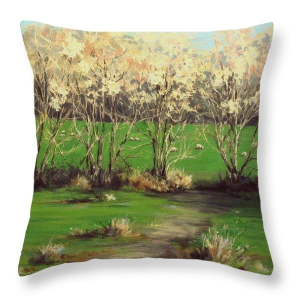 Winter Greens Throw Pillow by Karen Ilari