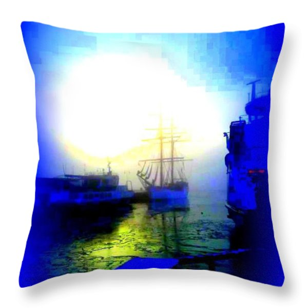 Winter harbour Throw Pillow by Hilde Widerberg