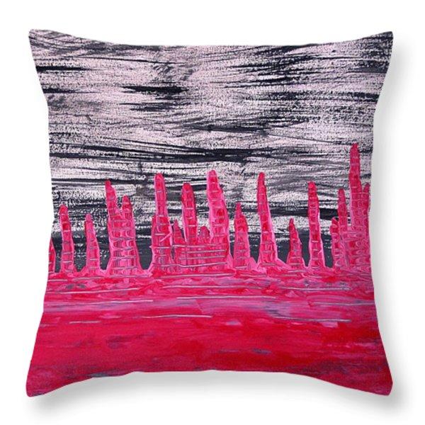 Winter Hoodoos Original Painting Throw Pillow by Sol Luckman