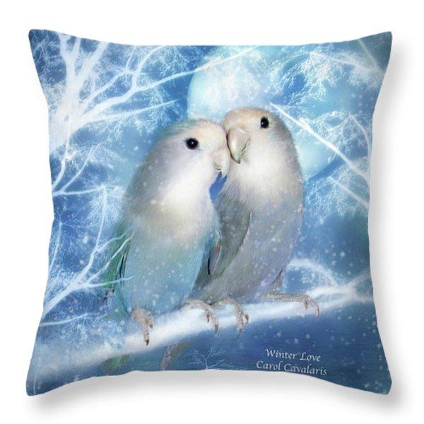 Winter Love Throw Pillow by Carol Cavalaris