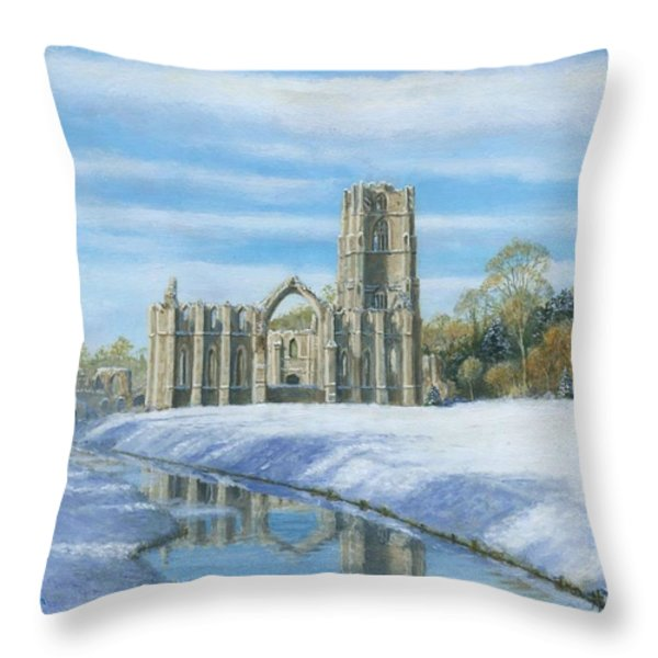 Winter Morning Fountains Abbey Yorkshire Throw Pillow by Richard Harpum
