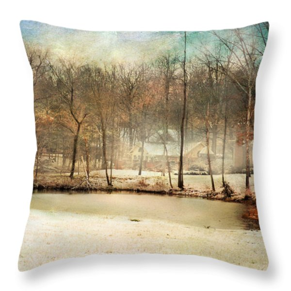 Winter Morning Pond Throw Pillow by Jai Johnson