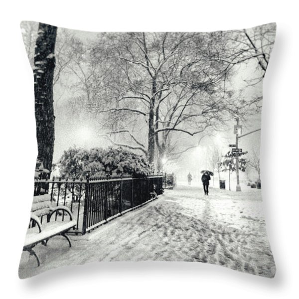 Winter Night - Snow - Madison Square Park - New York City Throw Pillow by Vivienne Gucwa