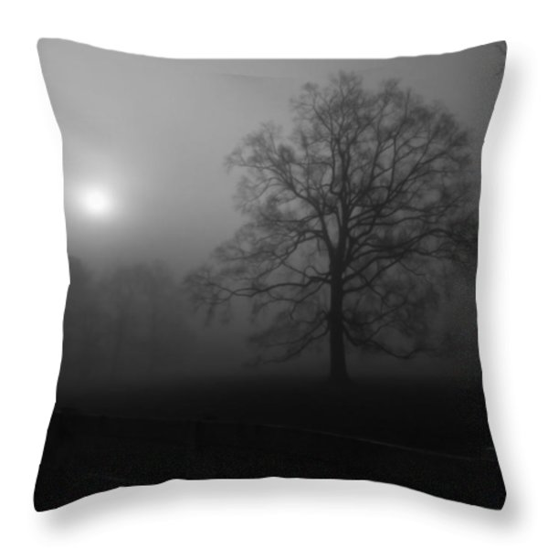 Winter Oak in Fog Throw Pillow by Deborah Smith