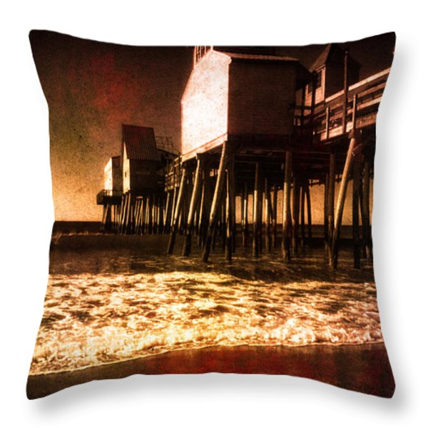 Winter Old Orchard Beach Throw Pillow by Bob Orsillo