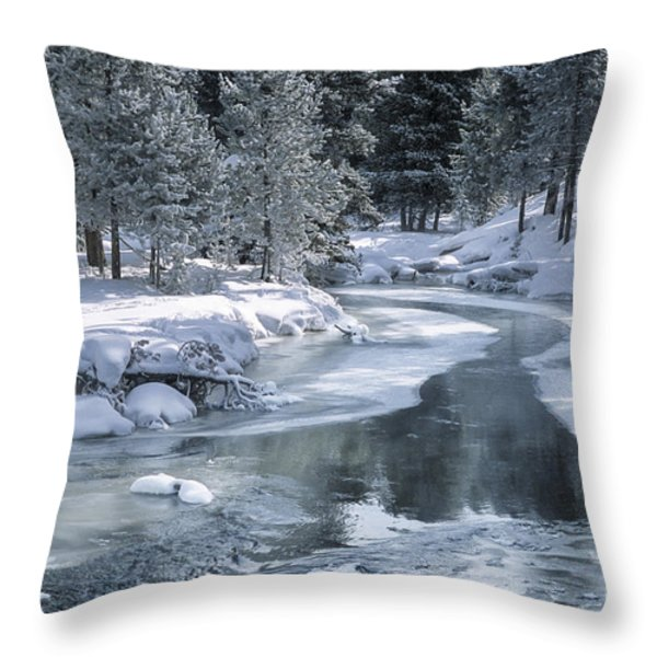 Winter on the Firehole River - Yellowstone National Park Throw Pillow by Sandra Bronstein