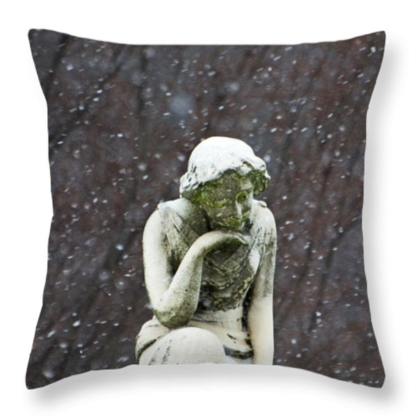 Winter Prayers Throw Pillow by adSpice Statues