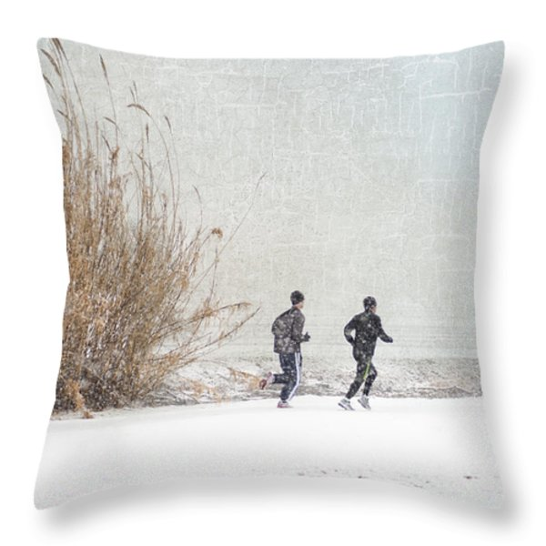 Winter Runners Throw Pillow by Betty LaRue