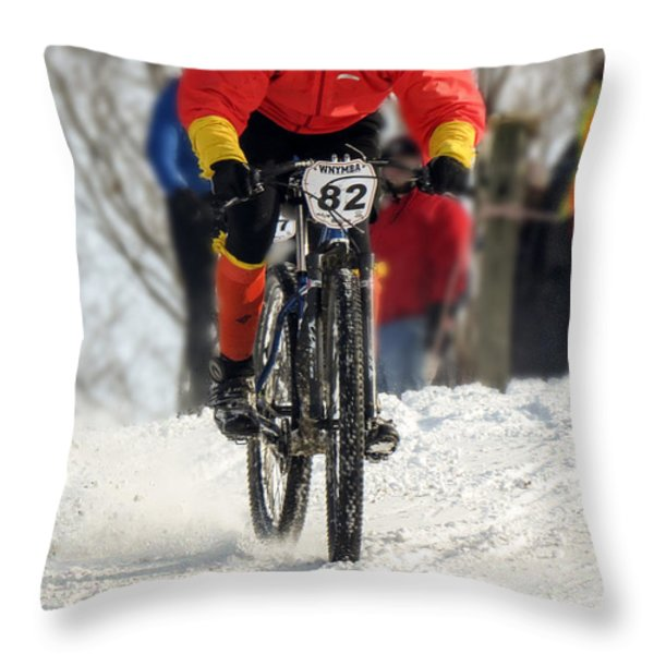 Winter Snow Mountain Bike Race Throw Pillow by Darleen Stry