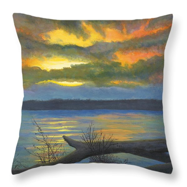 Winter Solstice At The Confluence Of The Mississippi And The Missouri Rivers Throw Pillow by Garry McMichael