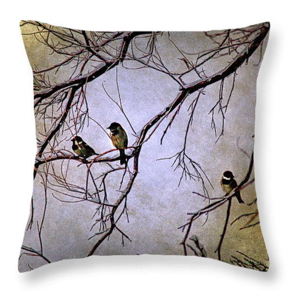 Winter Sparrow Dawn Throw Pillow by Barbara Chichester