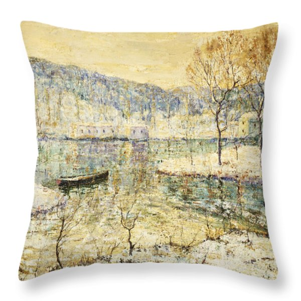 Winter Stream Throw Pillow by Ernest Lawson