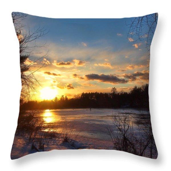 Winter Sundown Throw Pillow by Joann Vitali