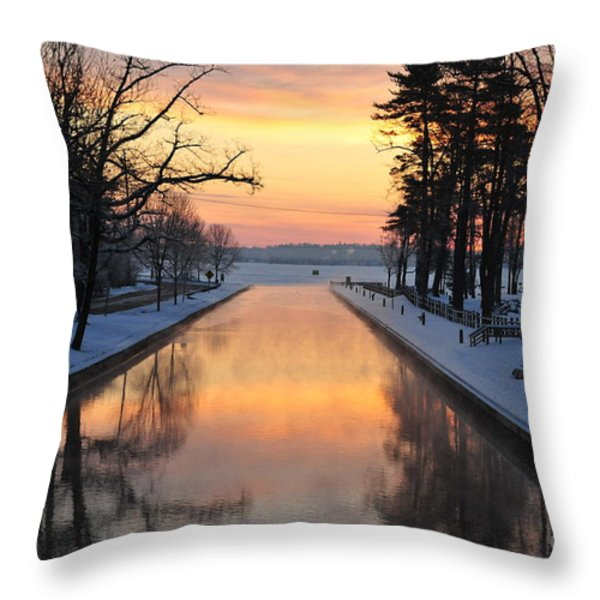 Winter Sunrise At Mitchell State Park Throw Pillow by Terri Gostola