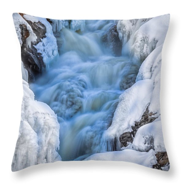 Winter Sunrise Great Falls Throw Pillow by Bob Orsillo
