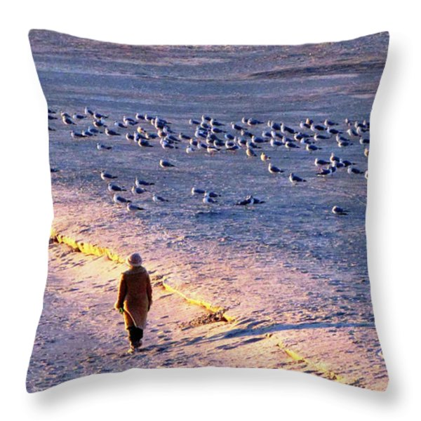 Winter Time At The Beach Throw Pillow by Cynthia Guinn