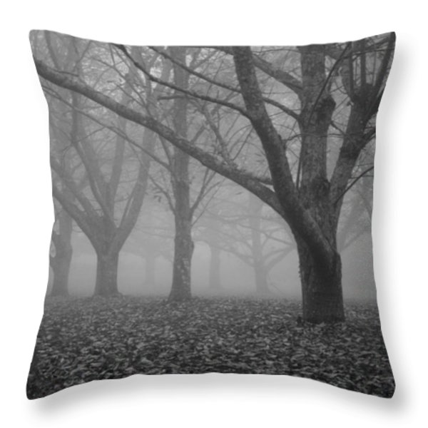 Winter trees in the mist Throw Pillow by Nomad Art And  Design