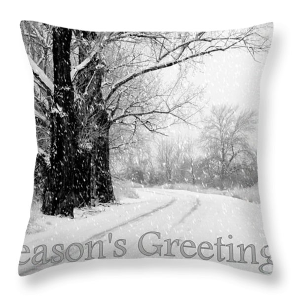 Winter White Season's Greeting Card Throw Pillow by Carol Groenen