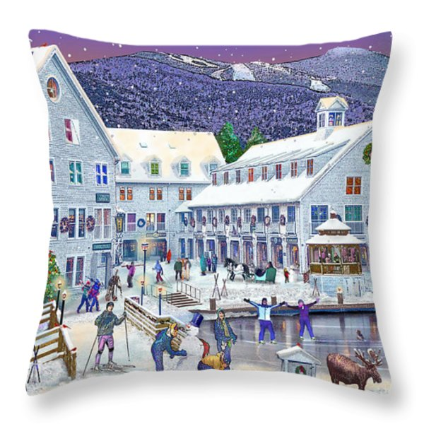 Wintertime at Waterville Valley New Hampshire Throw Pillow by Nancy Griswold