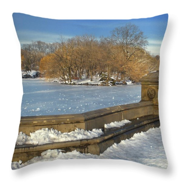 Wintery Afternoon at Bathsheba Terrace Throw Pillow by Muriel Levison Goodwin