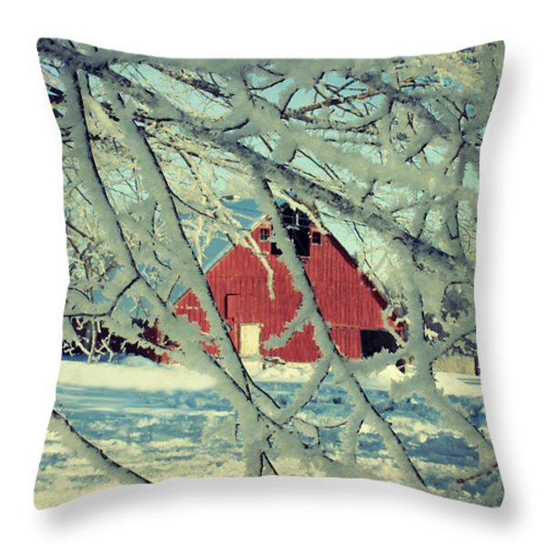 Wintery Red Barn Throw Pillow by Julie Hamilton