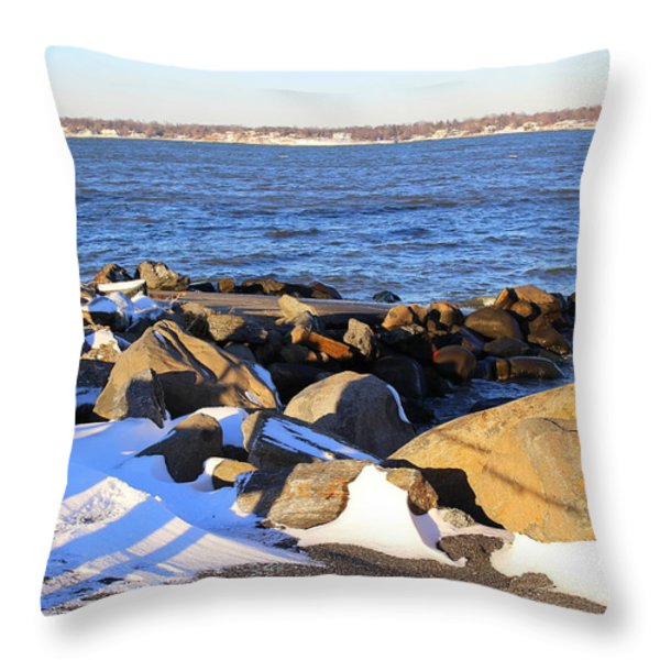 Wintry Day At The Bay Throw Pillow by Dora Sofia Caputo Photographic Art and Design
