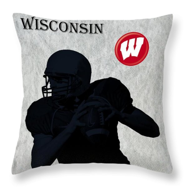 Wisconsin Football Throw Pillow by David Dehner