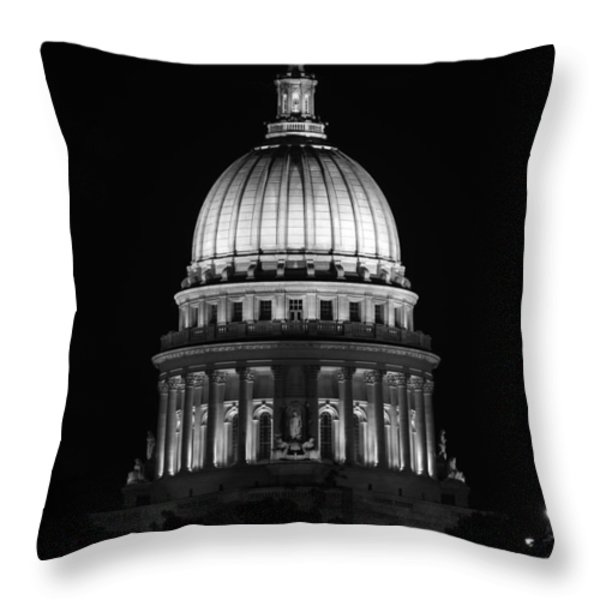 Wisconsin State Capitol Building At Night Black And White Throw Pillow by Sebastian Musial