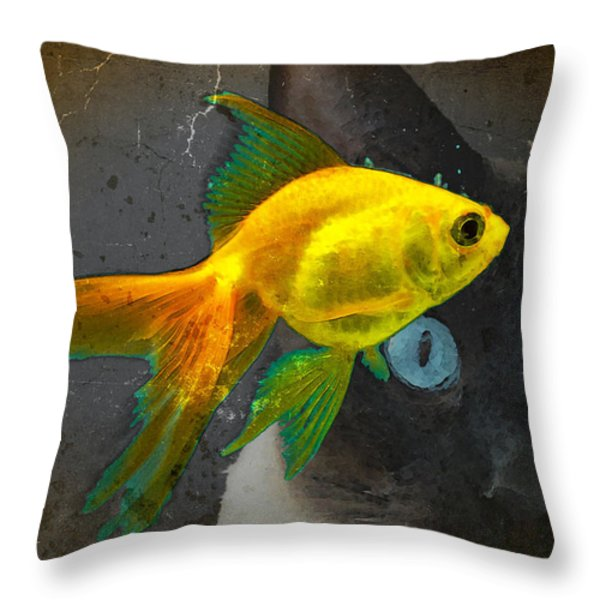 Wishful Thinking - Cat And Fish Art By Sharon Cummings Throw Pillow by Sharon Cummings