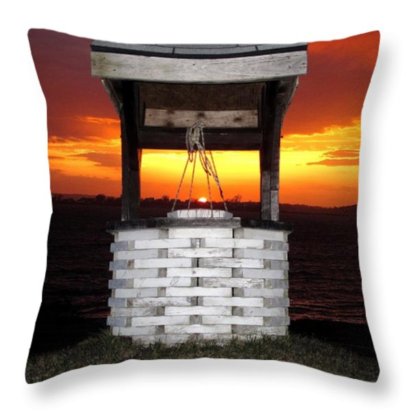 Wishing Well Throw Pillow by Donnie Freeman