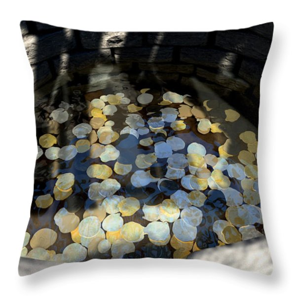 Wishing Well With Coins Perspective Throw Pillow by Allan Swart