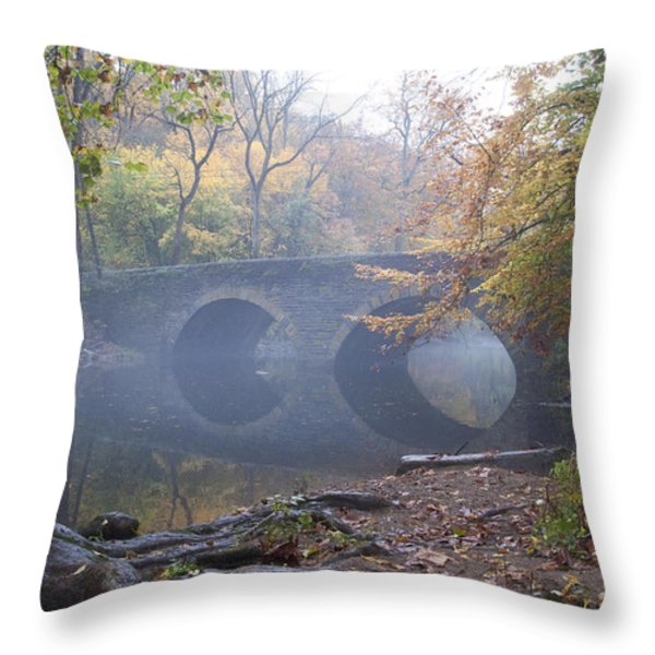 Wissahickon Creek And Bells Mill Road Bridge Throw Pillow by Bill Cannon