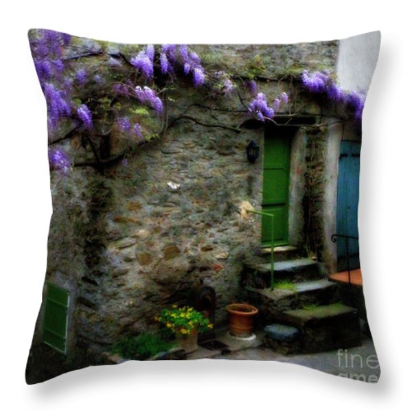 Wisteria On Stone House Throw Pillow by Lainie Wrightson