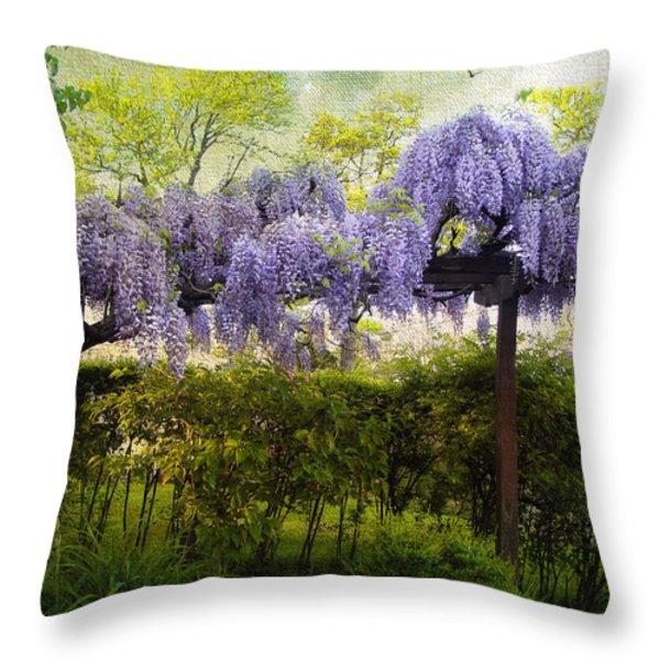 Wisteria Trellis Throw Pillow by Jessica Jenney